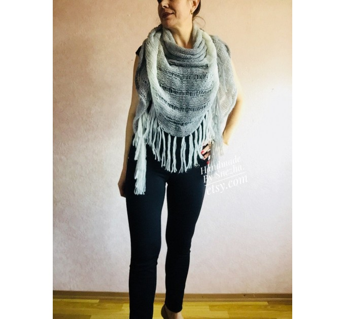 Hand Knit Shawl Triangle Wrap Fringe Alpaca White Big size Scarf Gradient Shawl Mohair Gray Handknit Woman Bohemian Shawl Black Granny  Shawl / Wraps  10