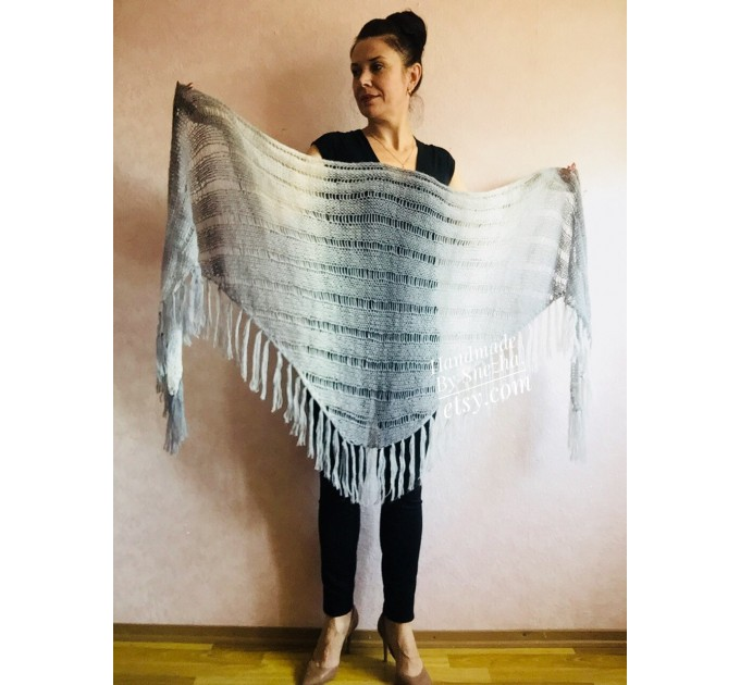 Hand Knit Shawl Triangle Wrap Fringe Alpaca White Big size Scarf Gradient Shawl Mohair Gray Handknit Woman Bohemian Shawl Black Granny  Shawl / Wraps  2