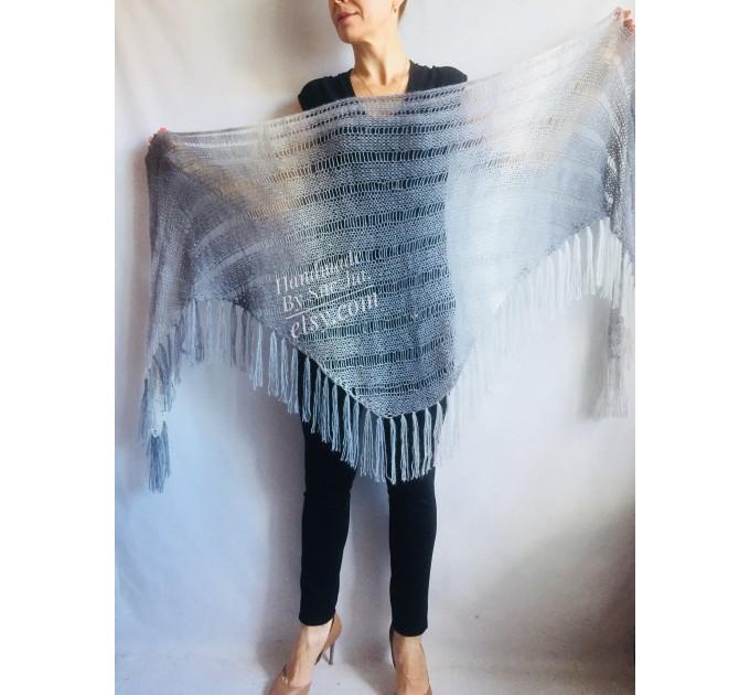 Hand Knit Shawl Triangle Wrap Fringe Alpaca White Big size Scarf Gradient Shawl Mohair Gray Handknit Woman Bohemian Shawl Black Granny  Shawl / Wraps  6