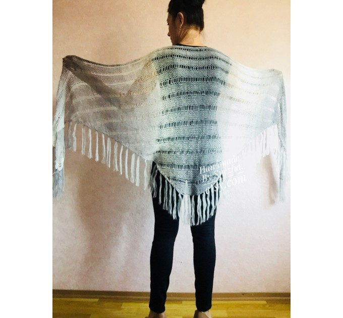 Hand Knit Shawl Triangle Wrap Fringe Alpaca White Big size Scarf Gradient Shawl Mohair Gray Handknit Woman Bohemian Shawl Black Granny  Shawl / Wraps  9