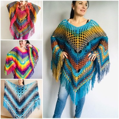 Crochet Poncho Shawl Rainbow Plus Size Wraps Birthday Gift Women Bohemian Festi Vegan Clothing Fringe Custom Colours Granny Square 3XL 2XL