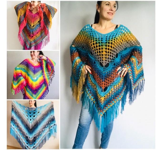 Crochet Poncho Shawl Rainbow Plus Size Wraps Birthday Gift Women Bohemian Festi Vegan Clothing Fringe Custom Colours Granny Square 3XL 2XL  Poncho  1