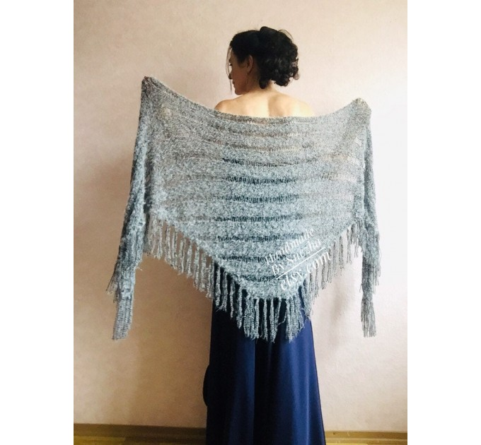 Black Lace shawl pin brooch Beige Knit Bridal Cape Bridesmaid shawl Wedding wrap Ivory gift for women White cover up Gray Capelet Royal Blue  Shawl / Wraps  3