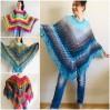 Blue Poncho Fringe Jacket, Rainbow Knit Poncho, Crochet Shawl Wraps, Plus Size Winter Cape Vegan Clothing, Oversized Warm Coat Sweater