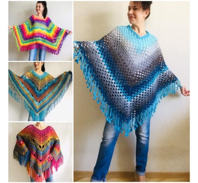 Blue Poncho Fringe Jacket, Rainbow Knit Poncho, Crochet Shawl Wraps, Plus Size Winter Cape Vegan Clothing, Oversized Warm Coat Sweater  Poncho  1