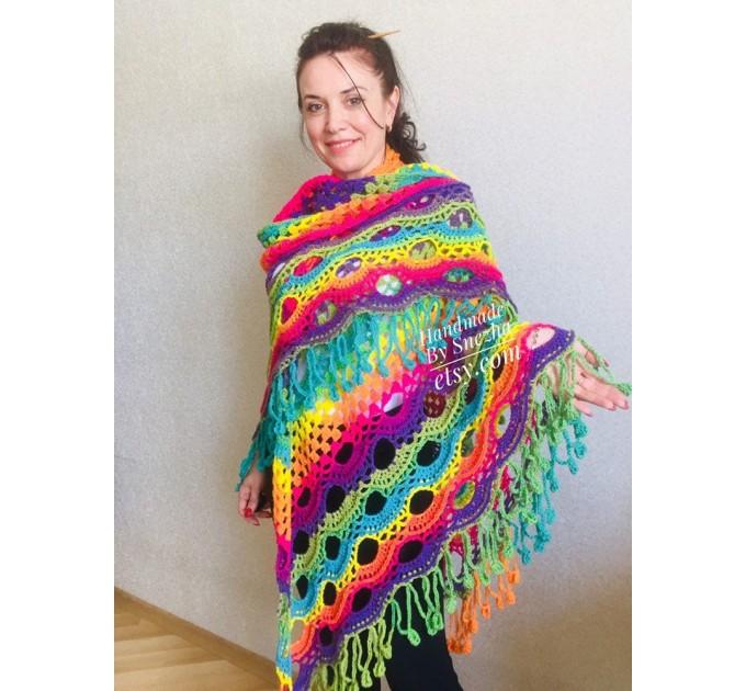 Blue Poncho Fringe Jacket, Rainbow Knit Poncho, Crochet Shawl Wraps, Plus Size Winter Cape Vegan Clothing, Oversized Warm Coat Sweater  Poncho  10