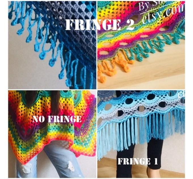 Blue Poncho Fringe Jacket, Rainbow Knit Poncho, Crochet Shawl Wraps, Plus Size Winter Cape Vegan Clothing, Oversized Warm Coat Sweater  Poncho  5