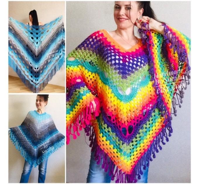 Blue Poncho Fringe Jacket, Rainbow Knit Poncho, Crochet Shawl Wraps, Plus Size Winter Cape Vegan Clothing, Oversized Warm Coat Sweater  Poncho  6