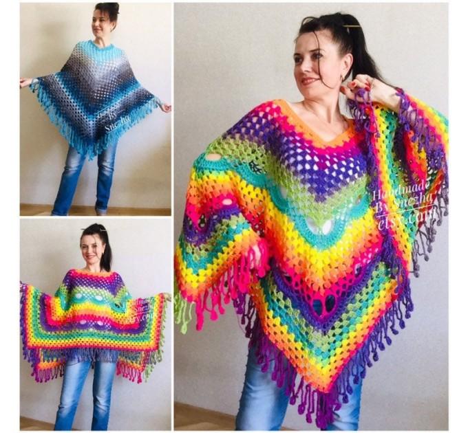 Blue Poncho Fringe Jacket, Rainbow Knit Poncho, Crochet Shawl Wraps, Plus Size Winter Cape Vegan Clothing, Oversized Warm Coat Sweater  Poncho  7
