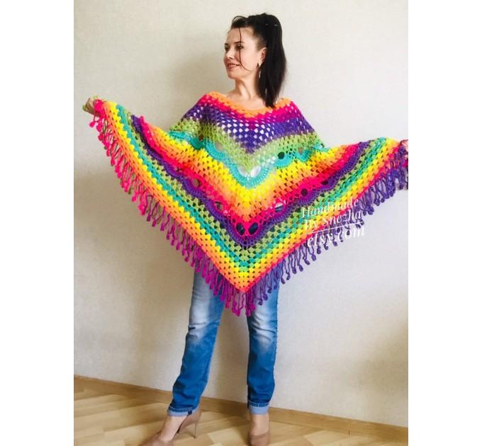 Blue Poncho Fringe Jacket, Rainbow Knit Poncho, Crochet Shawl Wraps, Plus Size Winter Cape Vegan Clothing, Oversized Warm Coat Sweater  Poncho  8