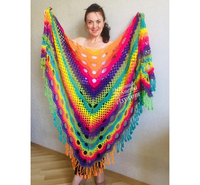 Blue Poncho Fringe Jacket, Rainbow Knit Poncho, Crochet Shawl Wraps, Plus Size Winter Cape Vegan Clothing, Oversized Warm Coat Sweater  Poncho  9