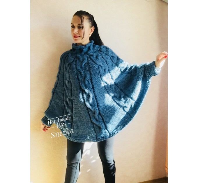 Knit Poncho Sweater Women Plus Size Chunky Wool Crochet Poncho Alpaca Loose Cable Hand Knit Oversized Cape Coat Black Red White Winter  Poncho  2