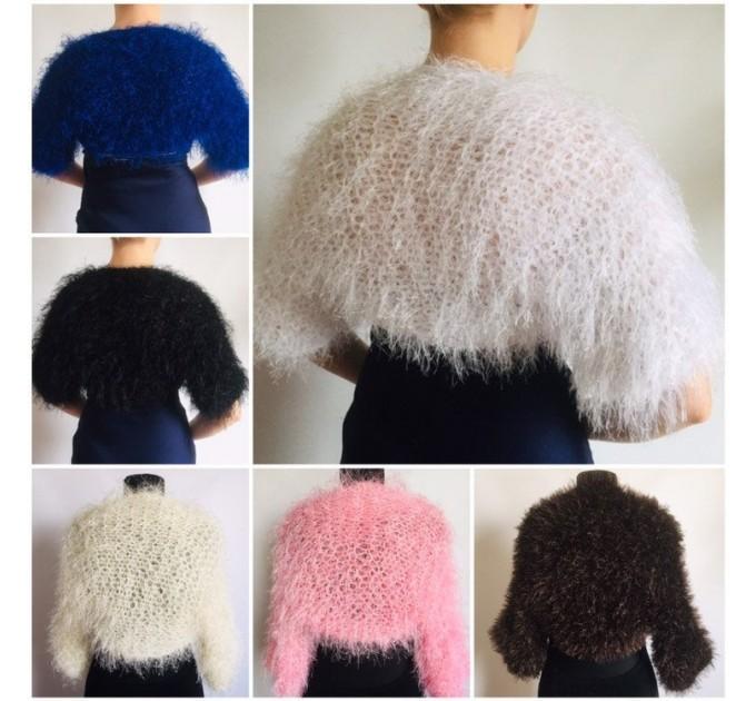 White wedding bolero jacket, Black bridal faux fur wrap bridesmaid shawl, Wedding faux fur cape Lace topper, bridal cover up, bridal capelet  Faux Fur  1