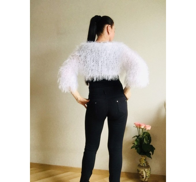 White wedding bolero jacket, Black bridal faux fur wrap bridesmaid shawl, Wedding faux fur cape Lace topper, bridal cover up, bridal capelet  Faux Fur  2