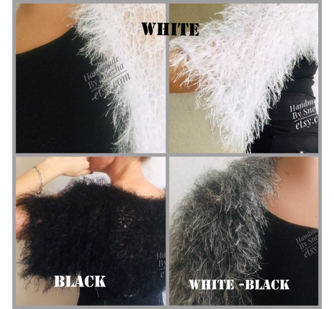 White wedding bolero jacket, Black bridal faux fur wrap bridesmaid shawl, Wedding faux fur cape Lace topper, bridal cover up, bridal capelet  Faux Fur  4