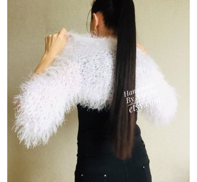 White wedding bolero jacket, Black bridal faux fur wrap bridesmaid shawl, Wedding faux fur cape Lace topper, bridal cover up, bridal capelet