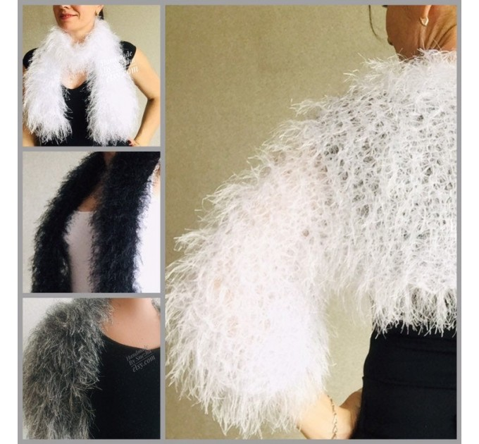 White wedding bolero jacket, Black bridal faux fur wrap bridesmaid shawl, Wedding faux fur cape Lace topper, bridal cover up, bridal capelet  Faux Fur  7