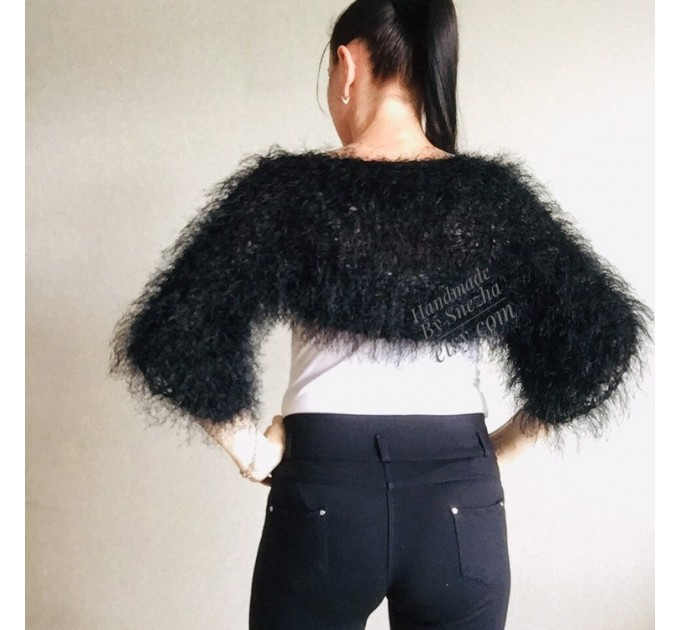 White wedding bolero jacket, Black bridal faux fur wrap bridesmaid shawl, Wedding faux fur cape Lace topper, bridal cover up, bridal capelet  Faux Fur  8