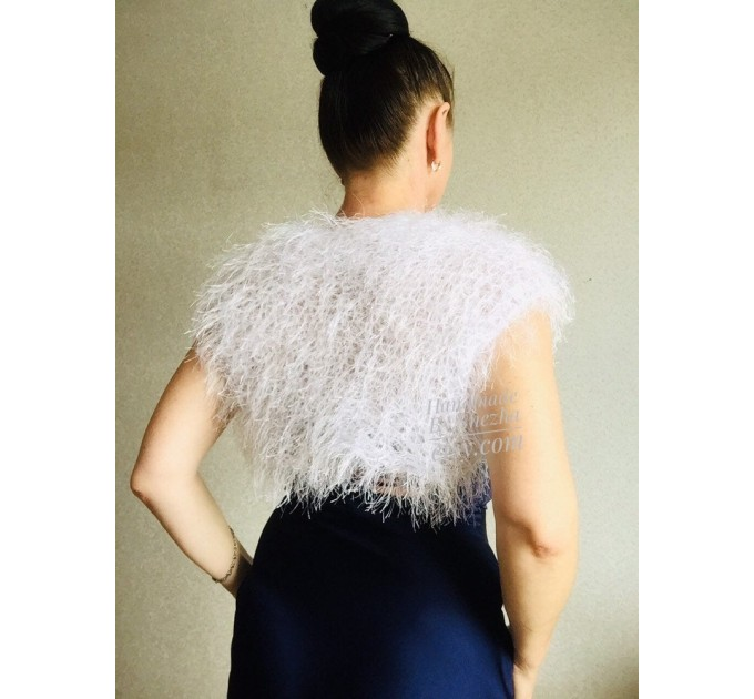White wedding bolero jacket, Black bridal faux fur wrap bridesmaid shawl, Wedding faux fur cape Lace topper, bridal cover up, bridal capelet  Faux Fur  9