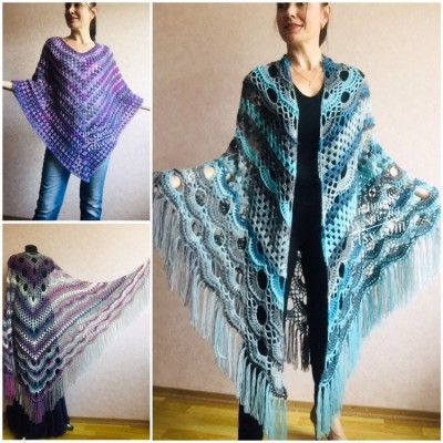Shawl pin brooch Crochet Poncho Women Fringe large Boho Hand Knit white-purple Granny Square Mohair Big Size Maxi Triangle Shawl Blue Alpaca