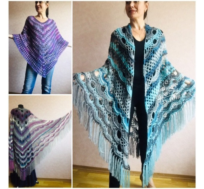 Shawl pin brooch Crochet Poncho Women Fringe large Boho Hand Knit white-purple Granny Square Mohair Big Size Maxi Triangle Shawl Blue Alpaca  Shawl / Wraps
