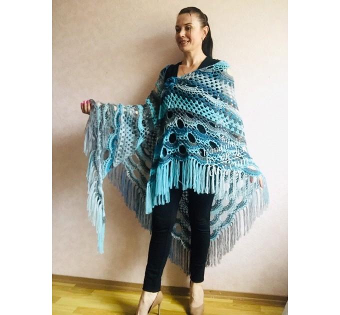 Shawl pin brooch Crochet Poncho Women Fringe large Boho Hand Knit white-purple Granny Square Mohair Big Size Maxi Triangle Shawl Blue Alpaca  Shawl / Wraps  2
