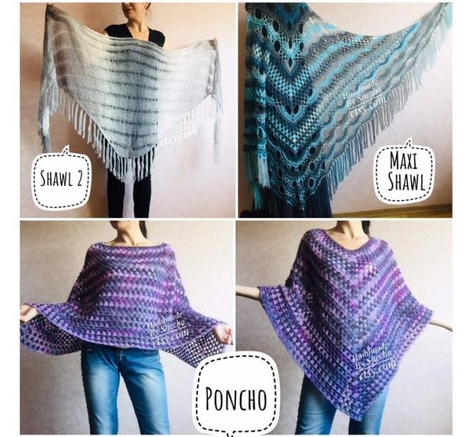 Shawl pin brooch Crochet Poncho Women Fringe large Boho Hand Knit white-purple Granny Square Mohair Big Size Maxi Triangle Shawl Blue Alpaca  Shawl / Wraps  3