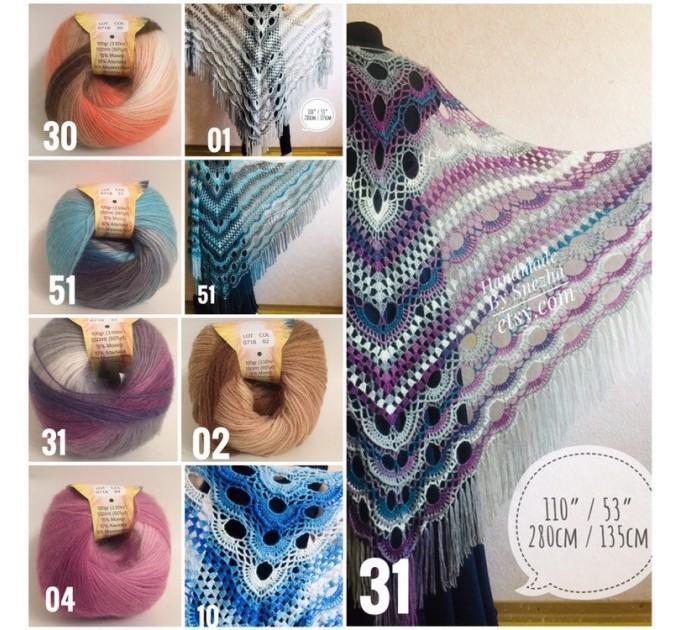 Shawl pin brooch Crochet Poncho Women Fringe large Boho Hand Knit white-purple Granny Square Mohair Big Size Maxi Triangle Shawl Blue Alpaca  Shawl / Wraps  4