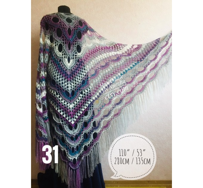 Shawl pin brooch Crochet Poncho Women Fringe large Boho Hand Knit white-purple Granny Square Mohair Big Size Maxi Triangle Shawl Blue Alpaca  Shawl / Wraps  6