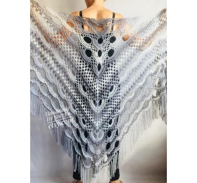 Shawl pin brooch Crochet Poncho Women Fringe large Boho Hand Knit white-purple Granny Square Mohair Big Size Maxi Triangle Shawl Blue Alpaca  Shawl / Wraps  7