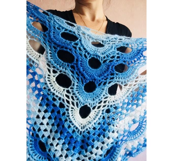 Shawl pin brooch Crochet Poncho Women Fringe large Boho Hand Knit white-purple Granny Square Mohair Big Size Maxi Triangle Shawl Blue Alpaca  Shawl / Wraps  8