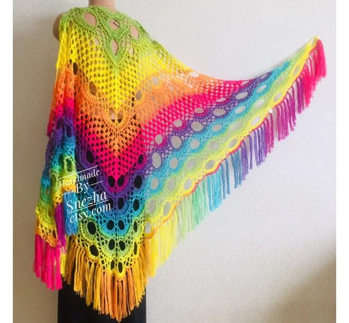 Crochet triangle scarf women fringe, Festival shawl pin gift brooch, Wool lace evening wrap Hand knit Rainbow Gypsy oversized large hippie  Shawl / Wraps  2
