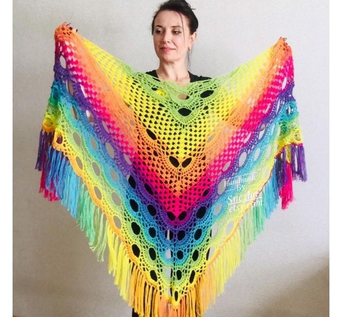 Crochet triangle scarf women fringe, Festival shawl pin gift brooch, Wool lace evening wrap Hand knit Rainbow Gypsy oversized large hippie  Shawl / Wraps  5