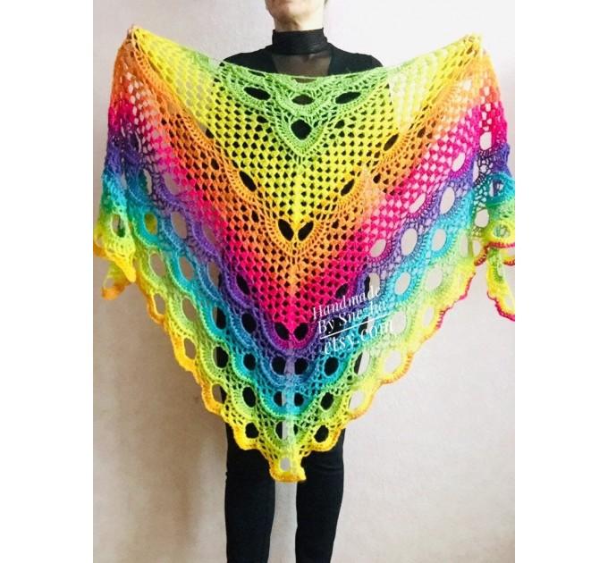 Crochet triangle scarf women fringe, Festival shawl pin gift brooch, Wool lace evening wrap Hand knit Rainbow Gypsy oversized large hippie  Shawl / Wraps  7