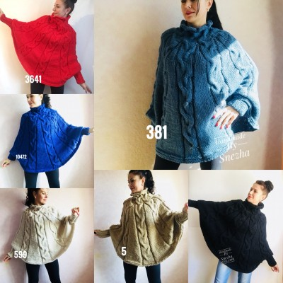 Knit Poncho Sweater Plus Size Women Crochet Poncho Black Wool Hand Knitted Winter Poncho Gray Cape Spring Poncho   Knitwear Boho Wrap