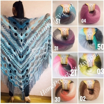 Angora RAINBOW Vizel Alpaca 5-8SET fingering yarn Lace Crochet Art yarn Shawl Scarf Knit Multicolor Poncho Sweater Cardigan Wrap Hat pattern