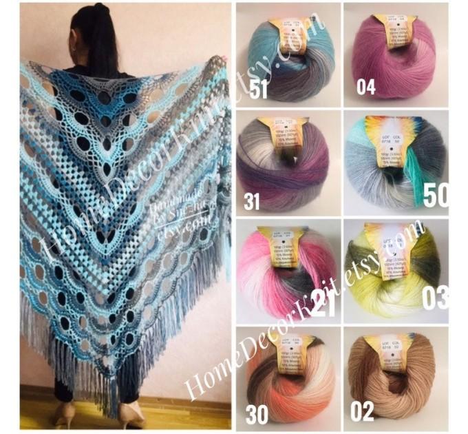 Angora RAINBOW Vizel Alpaca 5-8SET fingering yarn Lace Crochet Art yarn Shawl Scarf Knit Multicolor Poncho Sweater Cardigan Wrap Hat pattern  Yarn
