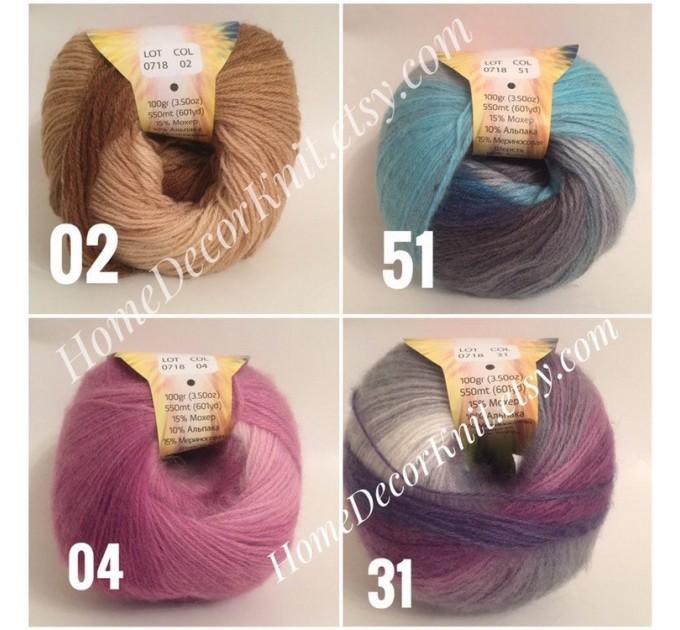 Angora RAINBOW Vizel Alpaca 5-8SET fingering yarn Lace Crochet Art yarn Shawl Scarf Knit Multicolor Poncho Sweater Cardigan Wrap Hat pattern  Yarn  4