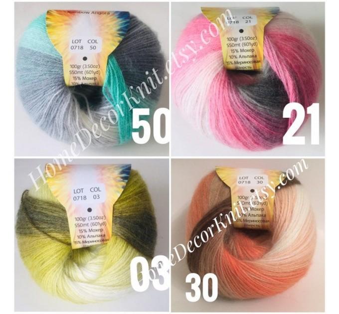 Angora RAINBOW Vizel Alpaca 5-8SET fingering yarn Lace Crochet Art yarn Shawl Scarf Knit Multicolor Poncho Sweater Cardigan Wrap Hat pattern  Yarn  3
