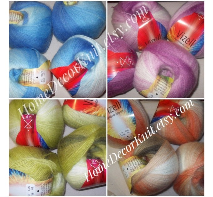 Angora RAINBOW Vizel Alpaca 5-8SET fingering yarn Lace Crochet Art yarn Shawl Scarf Knit Multicolor Poncho Sweater Cardigan Wrap Hat pattern  Yarn  2