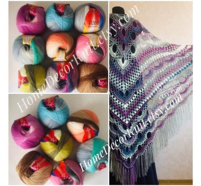 Angora RAINBOW Vizel Alpaca 5-8SET fingering yarn Lace Crochet Art yarn Shawl Scarf Knit Multicolor Poncho Sweater Cardigan Wrap Hat pattern  Yarn  6