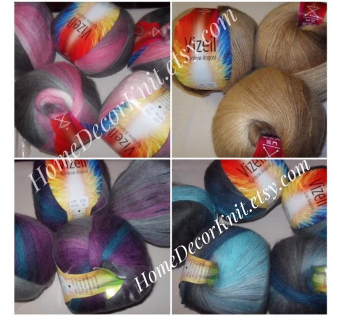 Angora RAINBOW Vizel Alpaca 5-8SET fingering yarn Lace Crochet Art yarn Shawl Scarf Knit Multicolor Poncho Sweater Cardigan Wrap Hat pattern  Yarn  7