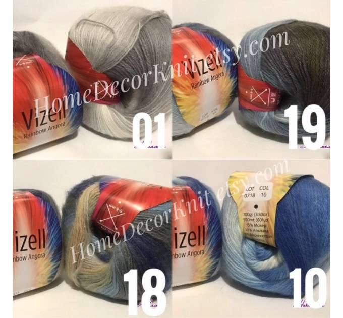 Angora RAINBOW Vizel Alpaca 5-8SET fingering yarn Lace Crochet Art yarn Shawl Scarf Knit Multicolor Poncho Sweater Cardigan Wrap Hat pattern  Yarn  8
