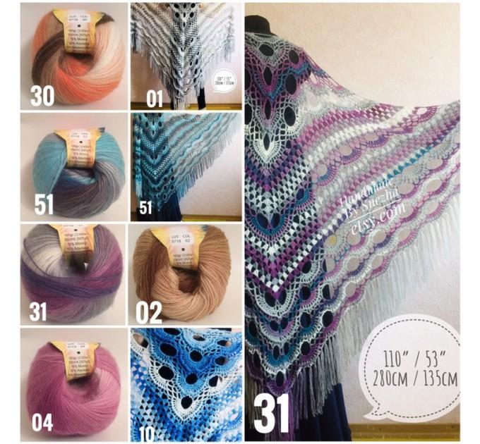 Crochet Shawl Plus Size Poncho Knit poncho gift brooch pin for women Triangle shawl Boho wool multicolor granny square clothing Men  Poncho  1