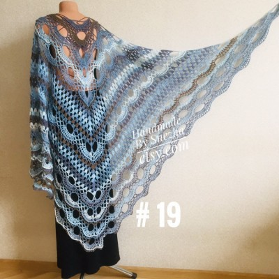 Crochet gray shawl fringe White wrap triangle outlander shawl pin brooch, Light blue Hand knit poncho plus size Mother of groom gift, Scarf