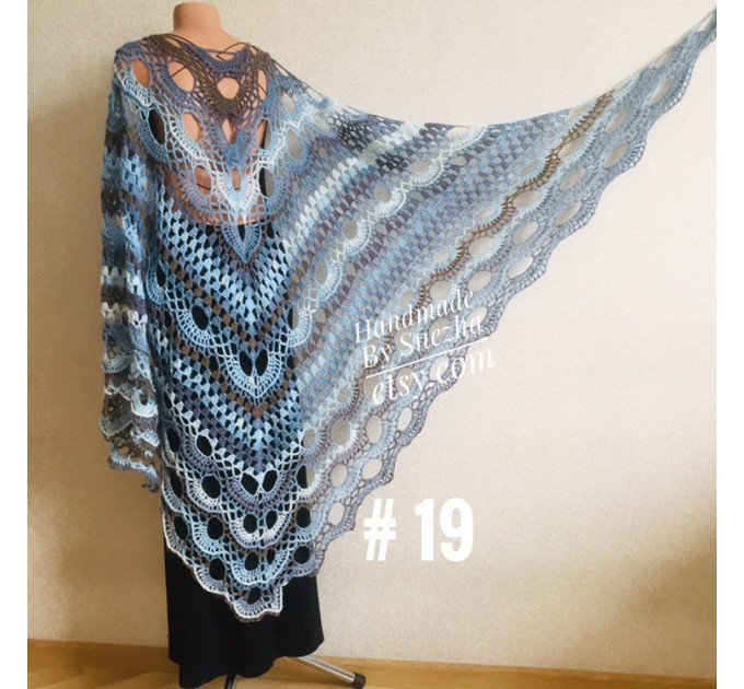 Crochet gray shawl fringe White wrap triangle outlander shawl pin brooch, Light blue Hand knit poncho plus size Mother of groom gift, Scarf  Shawl / Wraps
