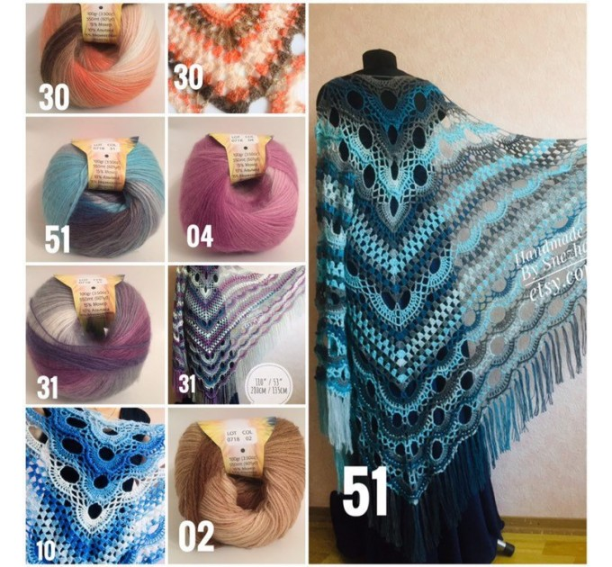 Crochet gray shawl fringe White wrap triangle outlander shawl pin brooch, Light blue Hand knit poncho plus size Mother of groom gift, Scarf  Shawl / Wraps  2