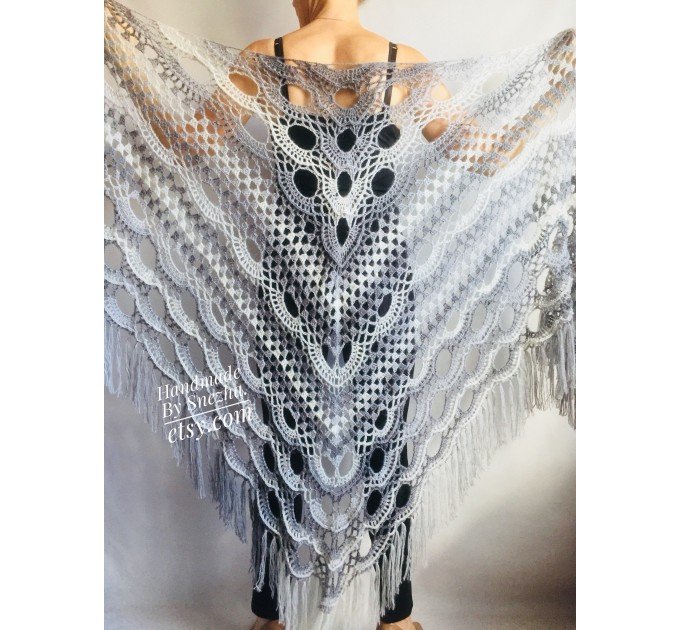 Crochet gray shawl fringe White wrap triangle outlander shawl pin brooch, Light blue Hand knit poncho plus size Mother of groom gift, Scarf  Shawl / Wraps  7