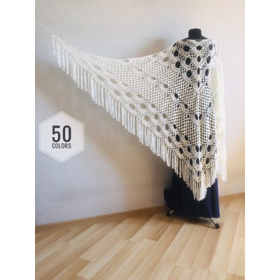 Ivory Crochet lace fringe triangle shawl White Prayer shawl Blue bridesmaid shawl, Red bridal vegan gift pin brooch, Hand knit granny square