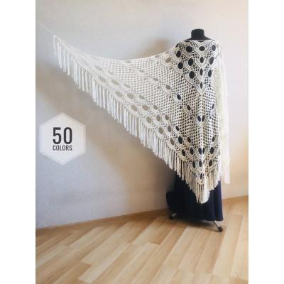 Ivory Crochet lace fringe triangle shawl White Prayer shawl Blue bridesmaid shawl, Red bridal vegan gift pin brooch, Hand knit granny square